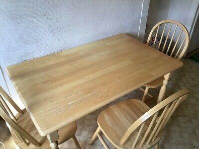Vintage Wooden Kitchen Table & 4 Chairs 1970's Era