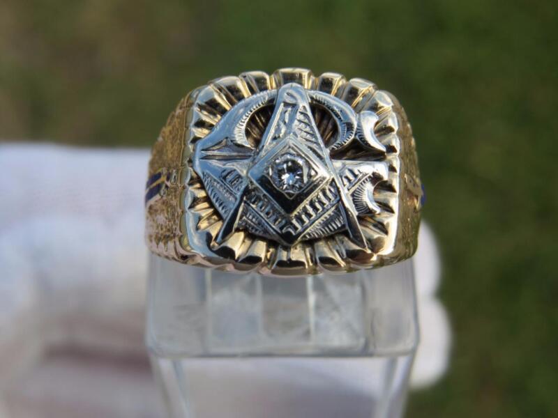 Vintage Masonic Blue Lodge Diamond .30 ct 10K YG Ring w/Blue Enamel Sz 9 - Nice!