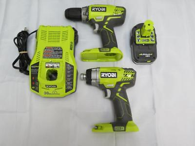 Ryobi Impact Driver and Drill Set With Battery and Charger