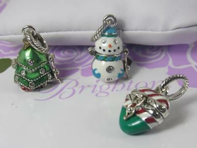 BRIGHTON SET OF 3 CHRISTMAS CHARMS  THEY ALL OPEN   TREE,CANDY CANE AND SNOWMAN - Candy Charm