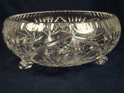 American Brilliance Crystal Glass Bowl Pinwheel Pattern Footed Large Bowl #23
