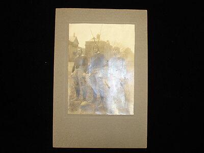 Circa 1911 Football Players Trio Black   White Mounted Original Photograph