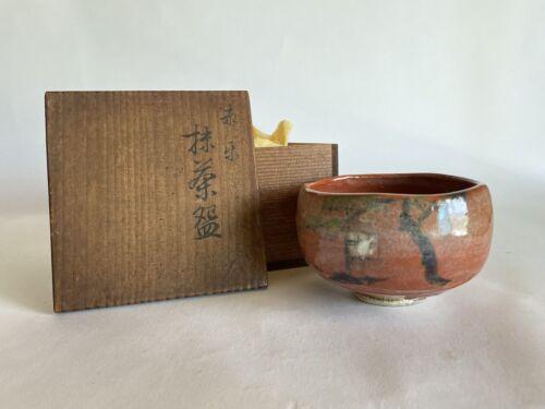 Japanese Antique Tea Ceremony Akaraku RAKU CHAWAN bowl (b300)