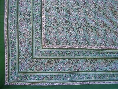 """Paisley Print Tapestry Cotton Spread 106"""" x 70"""" Twin Green"""