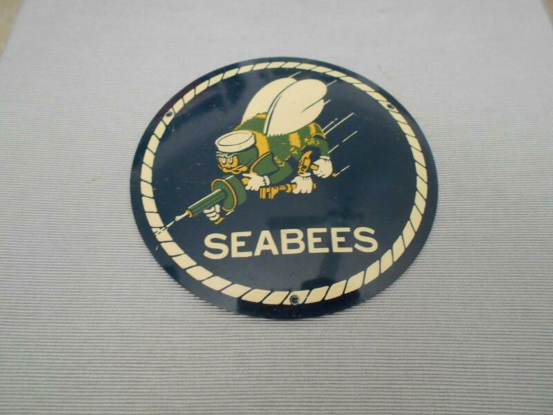 SEABEES enameled metal plaque or license plate topper