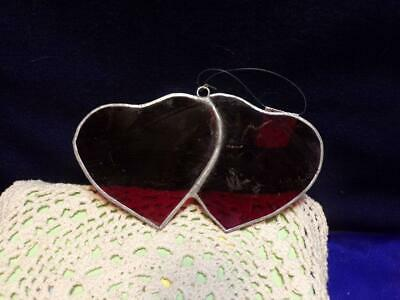 """TWO HEARTS  -Stained Glass - Handcrafted -SunCatcher - 5"""" by 2 3/4"""""""