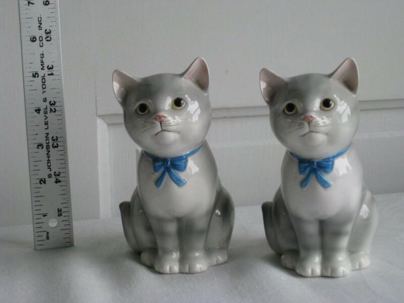 Vintage Japan Signed Otagiri Kitty Cat Piggy Banks Twin Grey Tabby Kittens Set