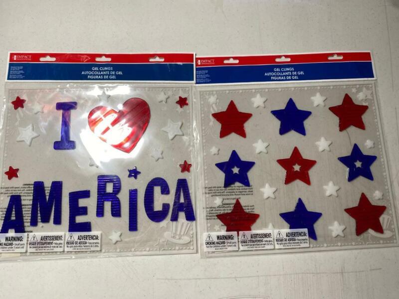 Patriotic 4TH OF JULY GEL WINDOW CLINGS I LOVE AMERICA & STARS