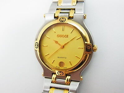 Gucci 9000M Gold Dial Two-tone GP St.Steel 34mm Men