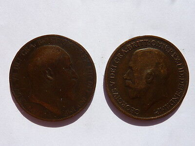 Two Pennies George and Edward 1917 1905