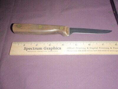 """Vtg. Olsen Knife Co. 3 1/2"""" blade/kitchen, wood handle, Howard City, USA Made"""