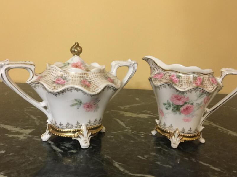 Gorgeous Vtg RS Prussia Hand painted Footed Creamer and Lidded Sugar Bowl Marked