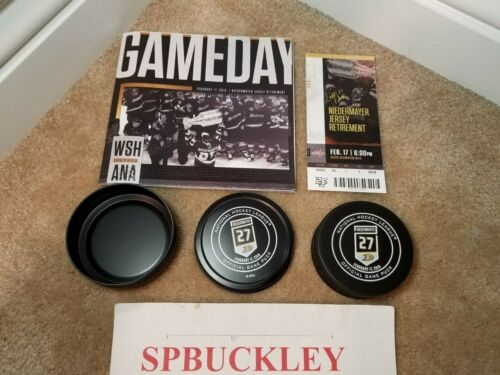 ANAHEIM DUCKS #27 SCOTT NIEDERMAYER JERSEY RETIREMENT PUCK, PROGRAM, TICKET STUB