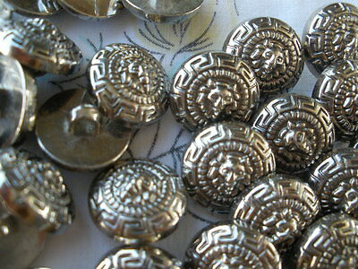 "100 bulk Lion buttons 16MM 24L silver color 5/8"" Versace style Greek Key pattern (Greek Style Costumes)"