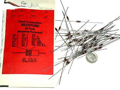 50 Vintage Carbon Comp 820 Ohm 14w Cc Resistor Mil Rcr