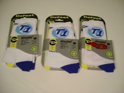 Lot 3 DeFeet AirEator Cool Max White Sport Cycling/Running Socks Sz: S USA Made