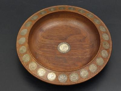 Wooden Bowl Inlaid With Shillings And Coins J.Beedle Dundee c1971