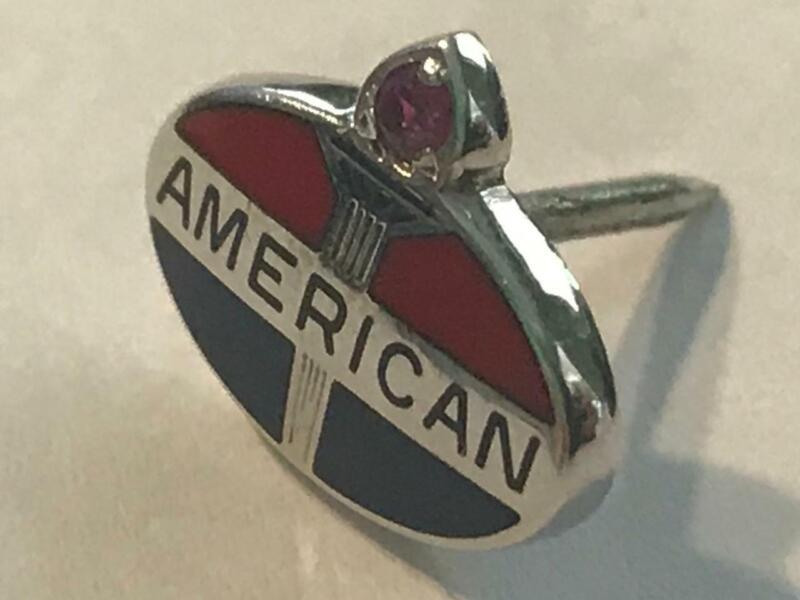 AMERICAN OIL COMPANY 10k Tie / Service Award Pin w/ RUBY - NICE!
