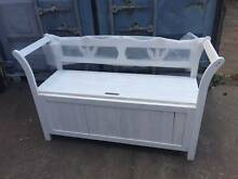 White Two Seats Wooden Garden Storage Bench Wantirna South Knox Area Preview