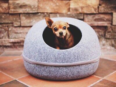 LittleHut Cat Cave,PetAccessories,100% Felted Wool, Pet House, Dog Beds, Grey
