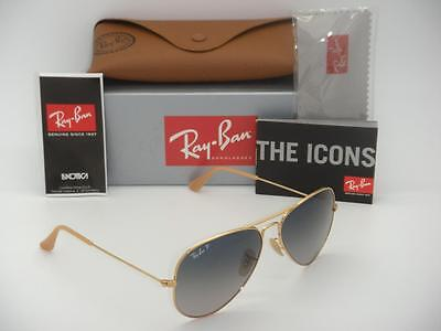 Ray-Ban Aviator Polarized RB 3025 001/78 58mm Gold Frame Blue Gradient (Ray Ban Gold Aviators Polarized)
