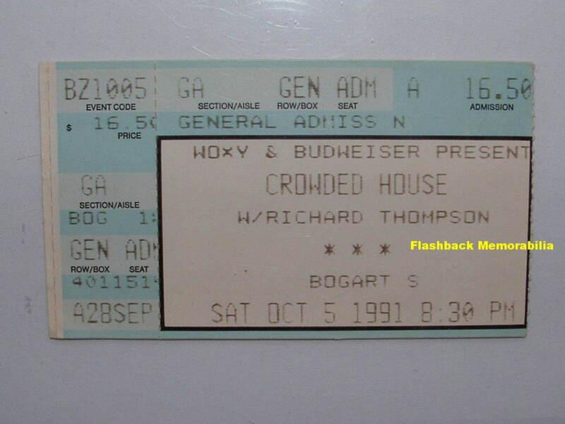 CROWDED HOUSE / RICHARD THOMPSON 1991 Concert Ticket Stub BOGART