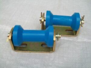 2 x 90mm  BLUE  Keel Dumbell Roller and Bracket for Boat Trailer 10