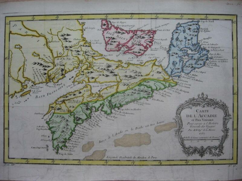 1757 - BELLIN - CANADA Map NOVA SCOTIA PRINCE EDWARD Is. CAP BRETON N. BRUNSWICK