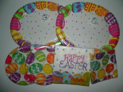 Easter Party Plates Napkins Supplies Tableware Colored Eggs Dinnerware Sturdy - Easter Tableware