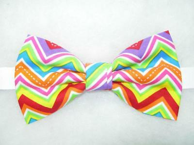 Neon Colors Bow tie / Pink, Red, Green, Blue Chevron Stripe / Pre-tied Bow - Neon Bow Ties