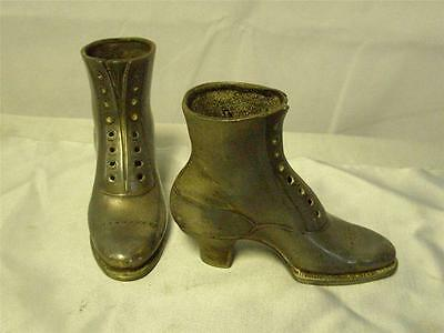 Antique Silver Plate Victorian Lace Up Boots