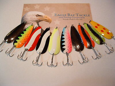 8 Eagle Bay FIRE TIGER Fishing Lures 3//8 oz Pike Muskie Trout Salmon USA MADE