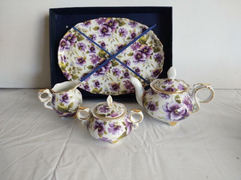 Nantucket Home Porcelain Purple Flower Mini Tea Set Doll Furniture New in Box