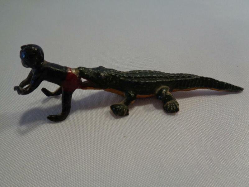 VINTAGE PAINTED CAST FIGURINE OF YOUNG BLACK WITH ALLIGATOR IN TOW - JAPAN