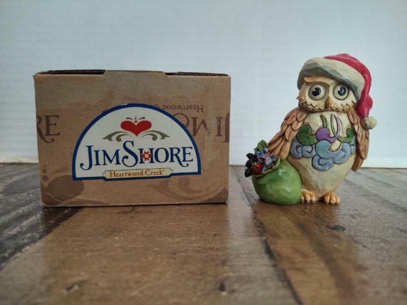 2014 Mini Christmas Owl Figure Jim Shore Heartwood Creek Enesco in Box