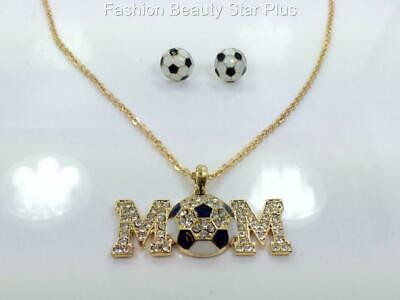 Crystal SOCCER MOM Statement Necklace Set - Gold or Silver