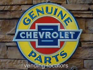 Embossed-Genuine-CHEVROLET-Parts-SIGN-Chevy-NASCAR-GM-Corvette-Ford-Mobil-Gas