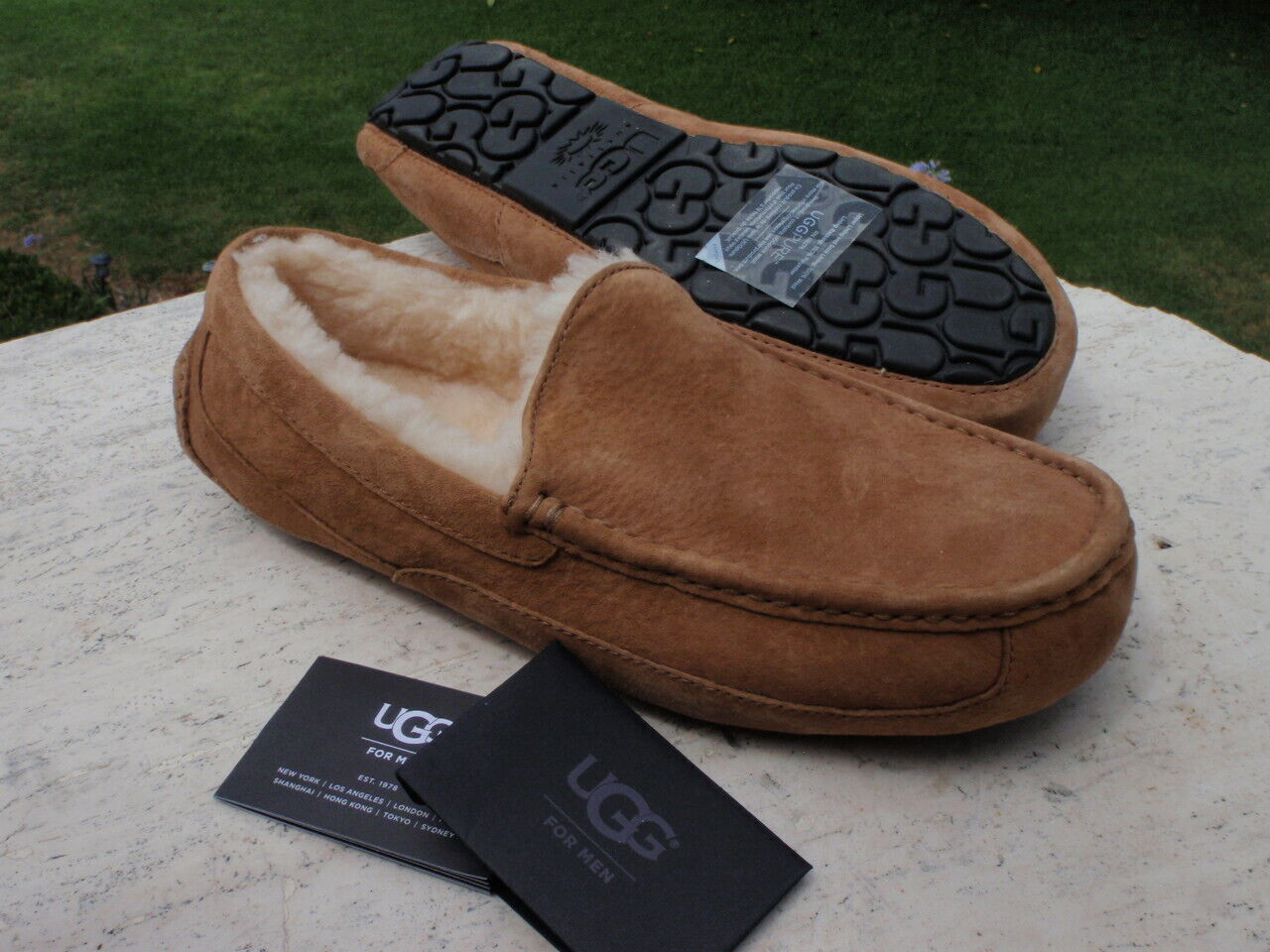 UGG Ascot Chestnut Brown Suede Fur Slippers Mens Size 11  *N