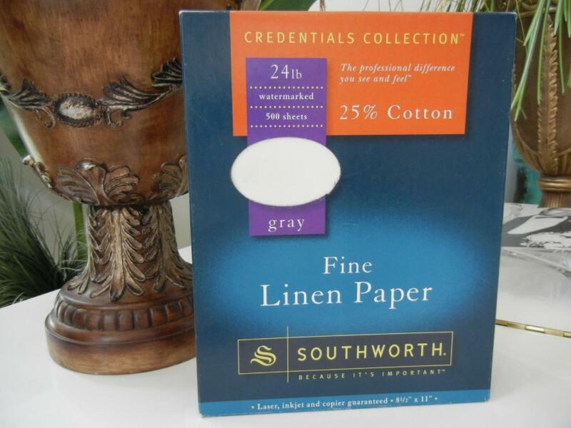 NIP SOUTHWORTH CREDENTIALS GRAY 25% COTTON FINE LINEN PAPER 24 LB 500 SHEETS