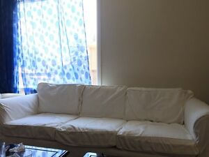 Sofa, love seat, and side tables