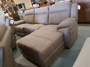 AS NEW!! 3 seater chaise beige / stone lounge built in recliner Springwood Logan Area Preview