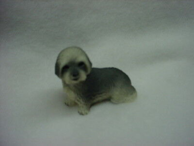 LHASA APSO gray puppy TiNY DOG Figurine HAND PAINTED MINIATURE Statue sport cut