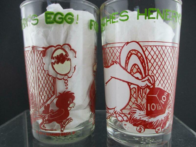 2 Vintage Foghorn & Switching Henrys Egg~Jelly Juice Glass~Looney Tunes~1974