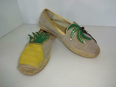 TORY BURCH BEIGE/GREEN/YELLOW/GOLD PALM TREE/PINEAPPLE ESPADRILLE FLAT SHOES 6.5