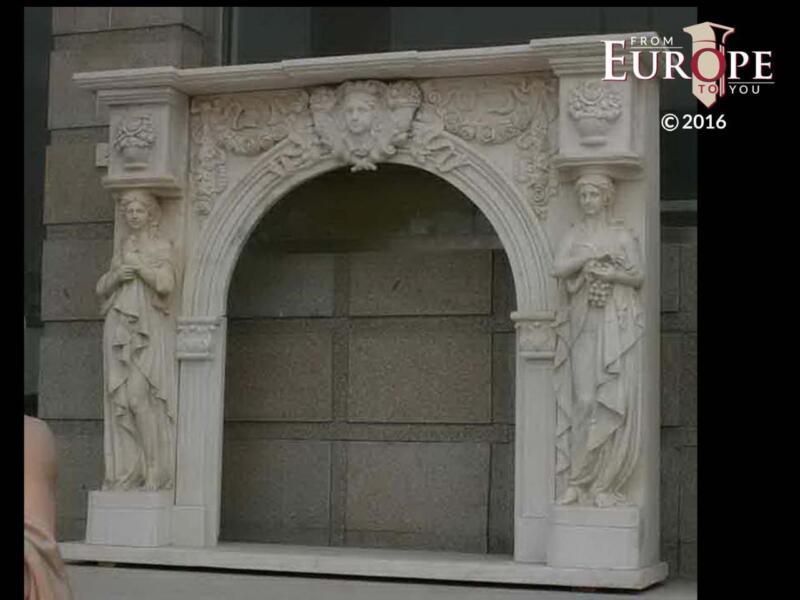 BEAUTIFUL HAND CARVED VICTORIAN STYLE SOLID MARBLE FIREPLACE MANTEL - LST65