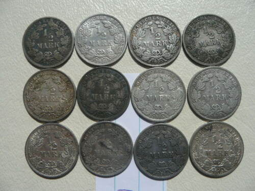 Lot of 12 Empire Germany Silver 1/2 Mark Coins - Lot 2
