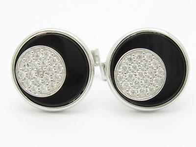 Platinum Sterling Silver White Sapphire & Black Onyx Abstract Halo Cufflinks ()