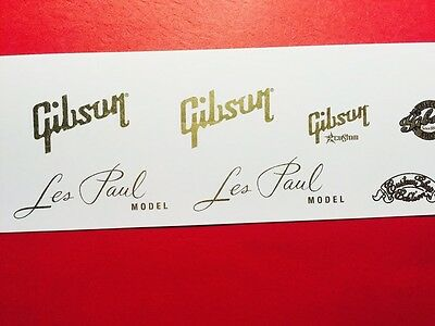Gibson Les Paul Vintage Gold Metallic Waterslide Decal set w/Custom Shop style 2