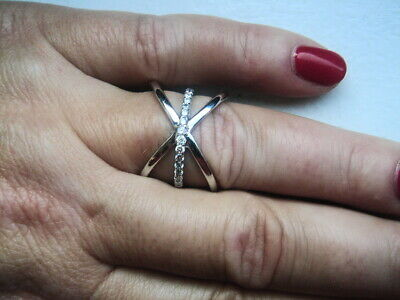 14K WHITE GOLD CRISS-CROSS 0.30CT VS/G  DIAMOND RING  SIZE 6.75 5GR