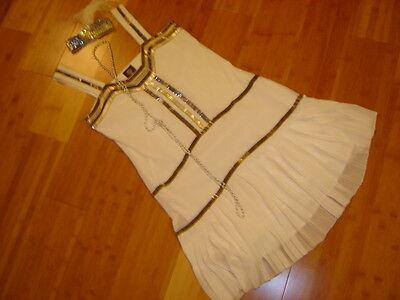 1920s twenties flapper costume Vince Camuto white dress silver beading sz S ](Twenties Dress)